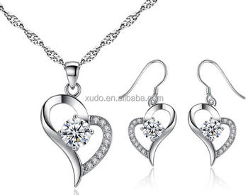 free shipping wedding bridal jewelry set zircon heart necklace earring set
