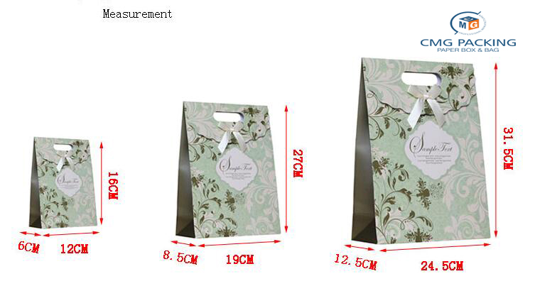 Wholesale small green Paper gift Box with flower pattern