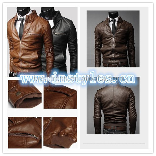 2015 new arrival Wholesale checkout Fashion Men's clothing Slim Fit Casual Suit Coats Blazers Men's leather zipper design coat