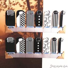 White Black stripe cat child Nail Arts Nail Sticker Waterproof Nail Decal Sticker Gel Polish French