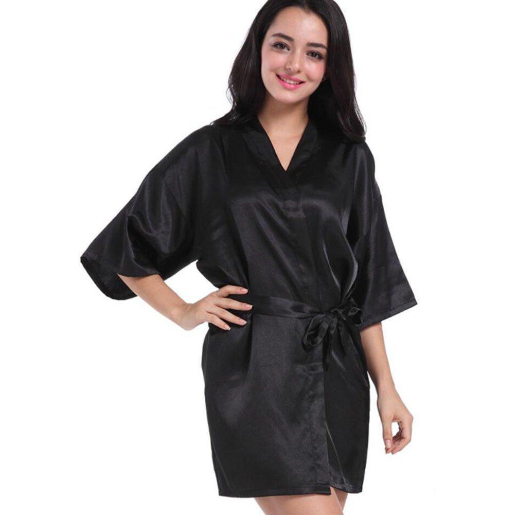 Get Quotations · Bathrobe Ladies Silk Satin Bathrobe Tie Waist Long Kimono  Relaxed And Confortable Home Hotel Spa Bathrobe 86f1e97ce