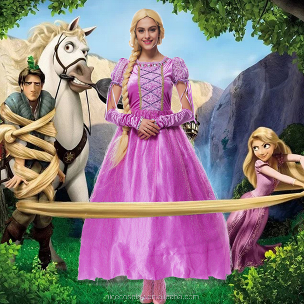 Hot Movie Tangled/Rapunzel Cosplay Fancy Sequined Princess Costumes Dress For Women/Girls