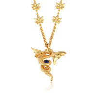 43313 gold long chain necklace designs fashion best selling gold dragon pendant jewelry necklace