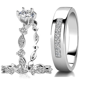 Engagement Rings for Men Women Rings Couple Silver 925 Set Wedding Silver Jewelry Sets