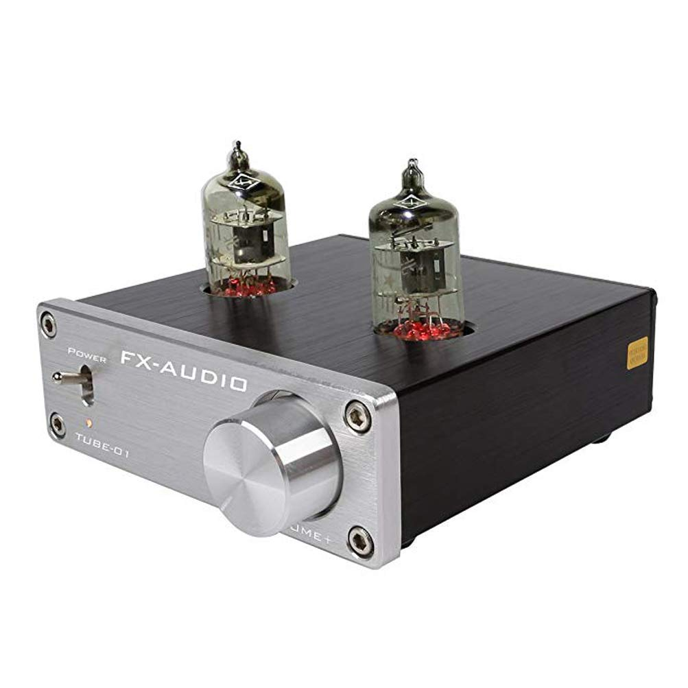 Dilvpoetry FX TUBE-01 6J1 Vacuum Tube Amplifier HiFi Bass Adjust Receiver Replaceable Audio Stereo Preamplifier(Silver)