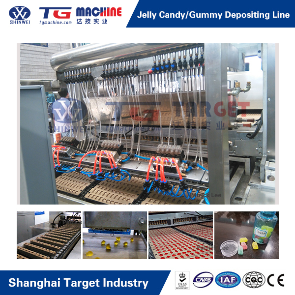 Quality Gelatin Pectin Gummy / Jelly Candy Depositing Line with factory photo
