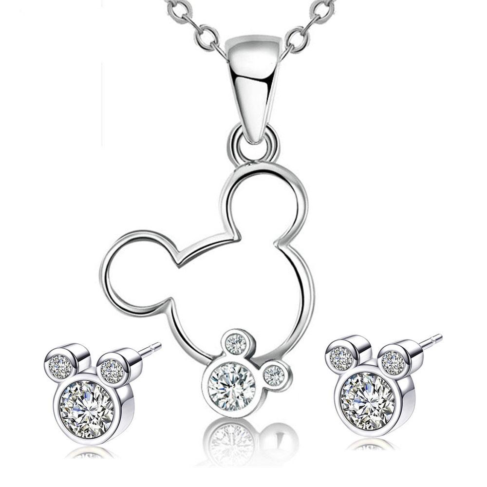 Jewelry Sets Gift Mickey Pendant Necklace Earrings Zircon Crystal