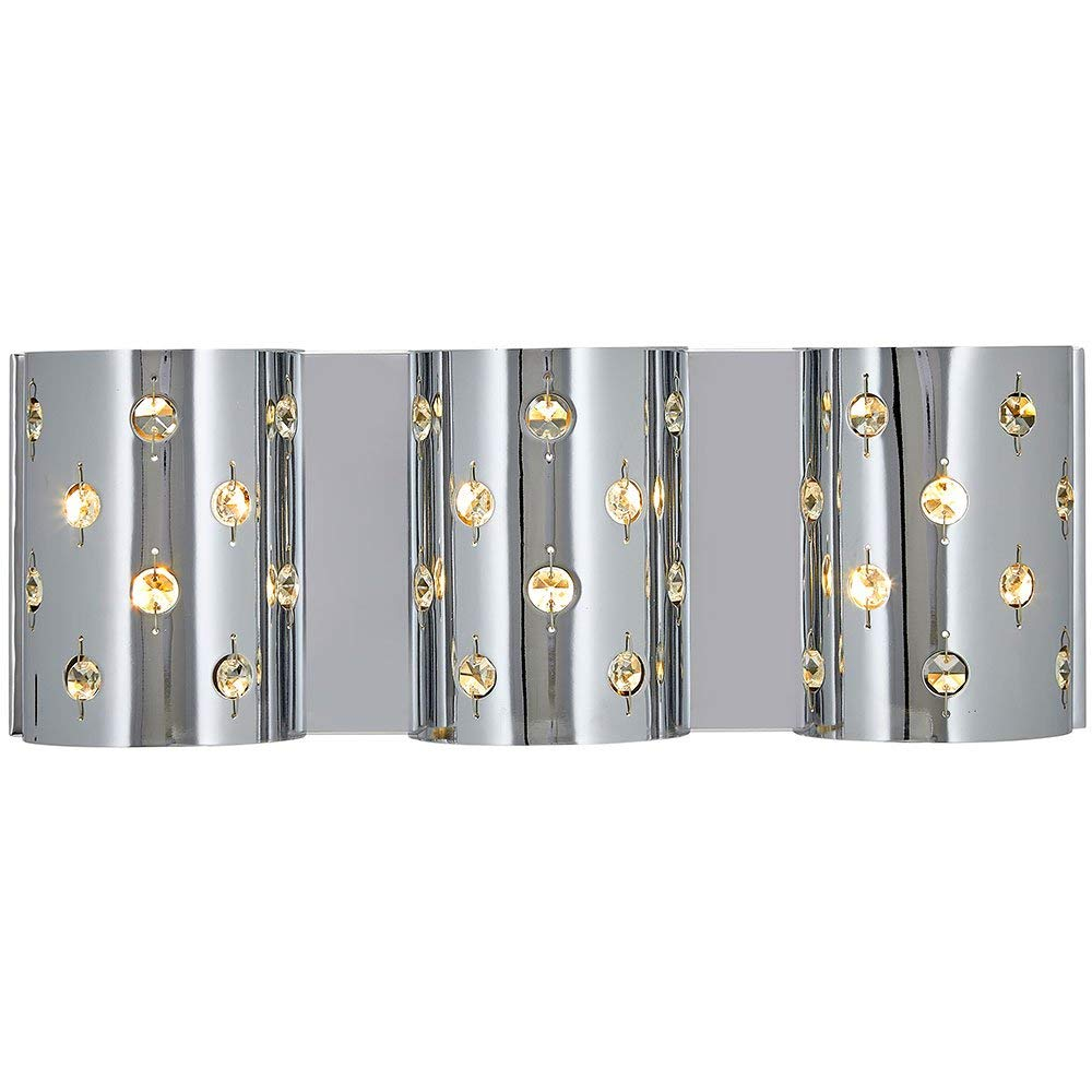 Polished Chrome Glass Beaded Triple Light Fixture Sconce | Bathroom Hall or Vanity LED Wall Lighting