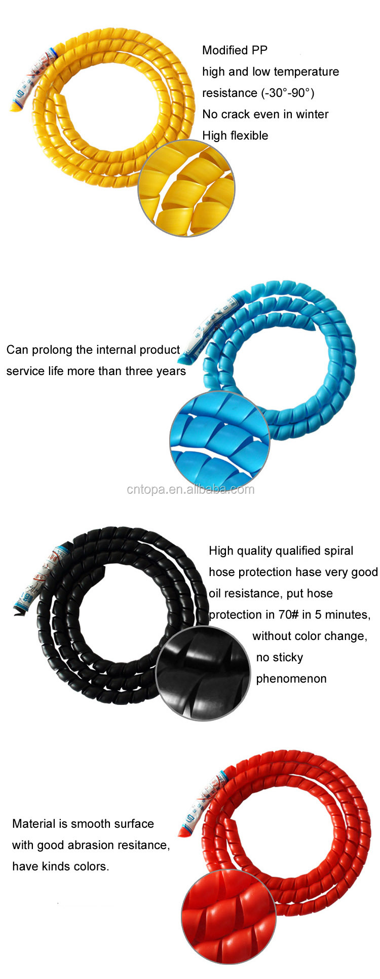 Flexible Protective Spiral Wrap /colorful Spiral Hydraulic Hose ...