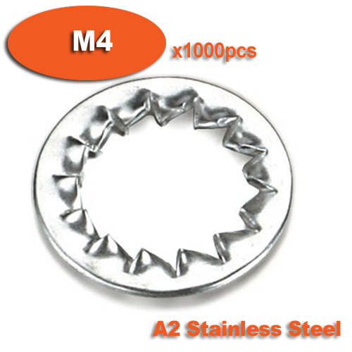 1000pcs DIN6798J M4 Stainless Steel A2 Internal Serrated Lock Washers Washer