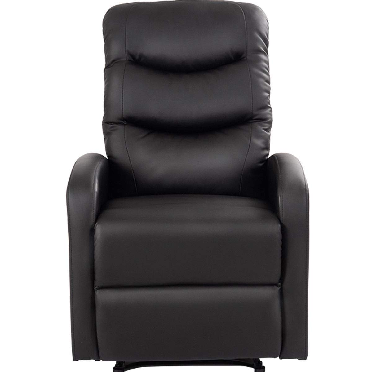GHP 330-Lbs Capacity Black PU Leather Padded Seat Recliner Chair w Foldable Footrest