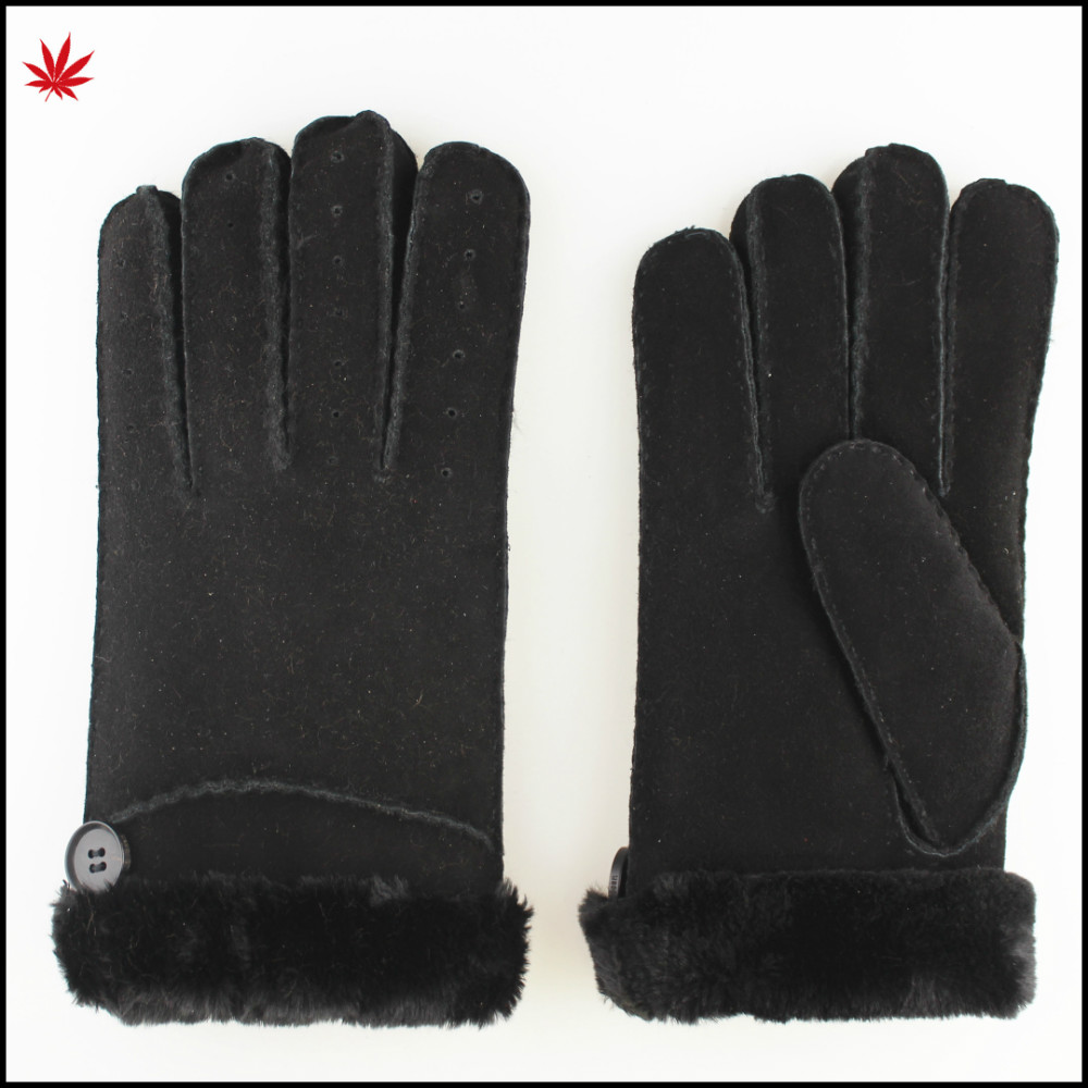 ladies double face sheepskin leather gloves with button and fake fur