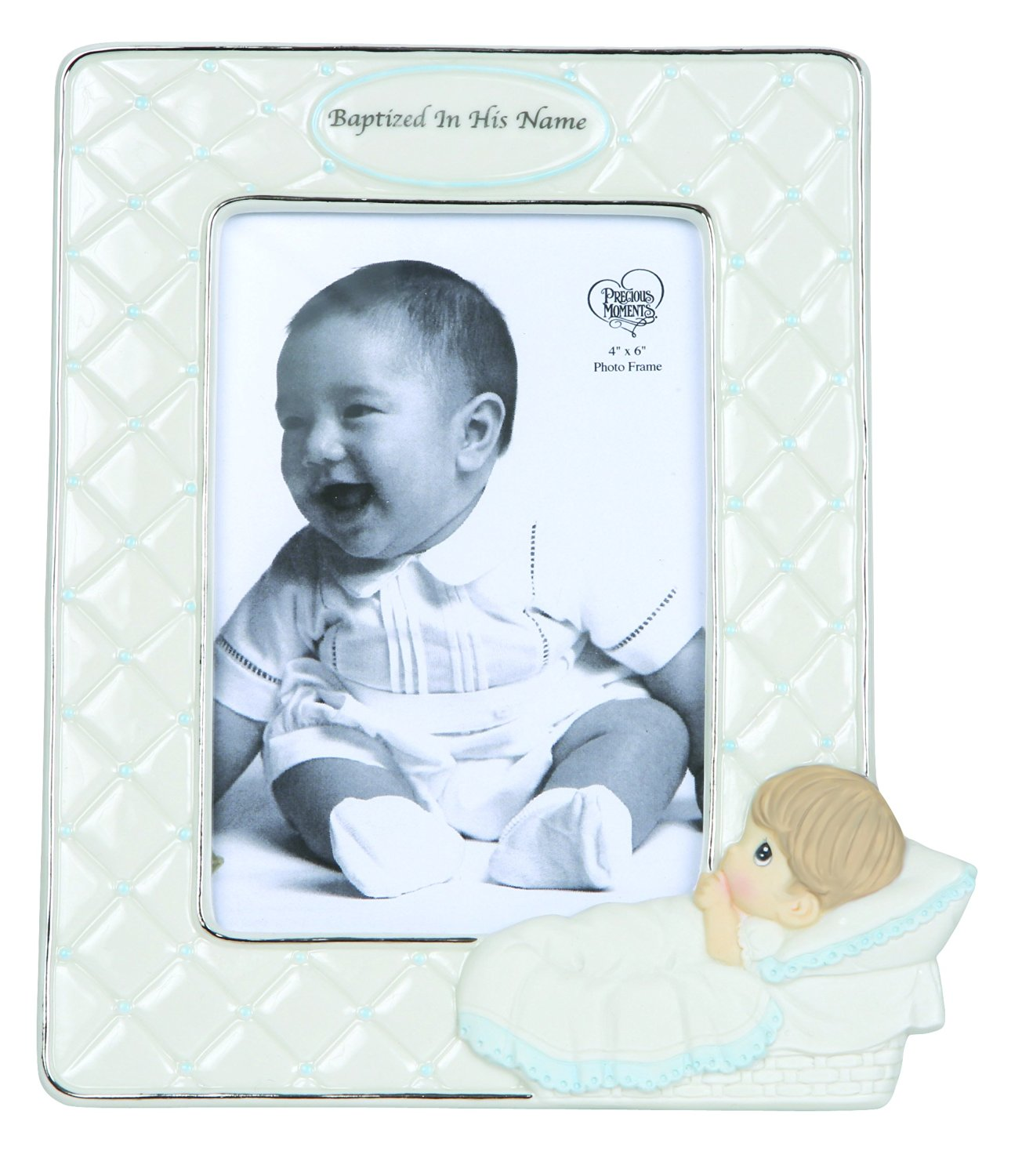 Precious Moments, Baptized In His Name, Bisque Porcelain Photo Frame, Boy, 143401