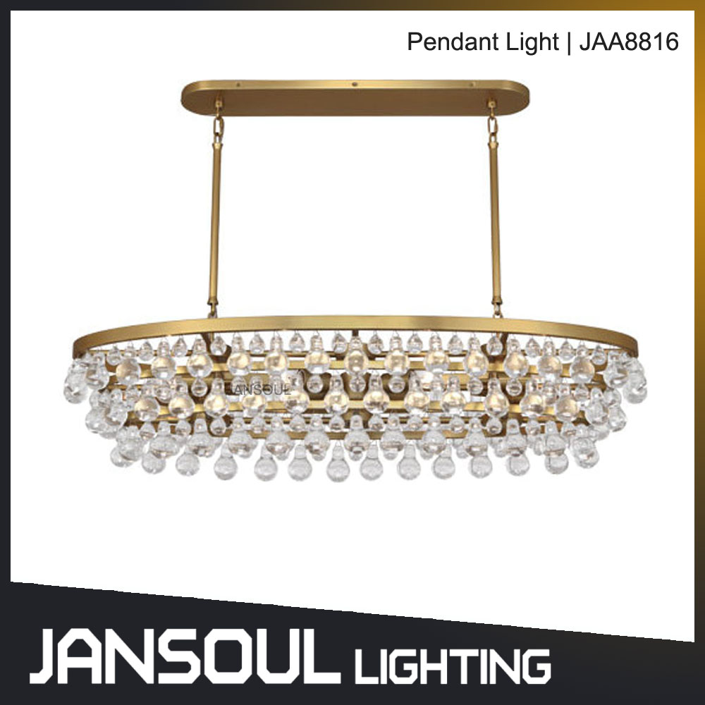 Modern design kitchen island oval circular shape crystal pendant lamp for home decoration