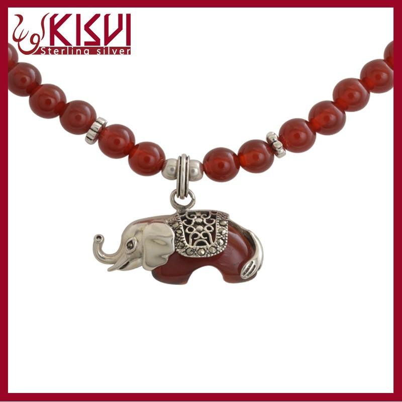 925 Tai Silver fashion Agate Elephant Pendant Silver Necklace Pendant Wholesales