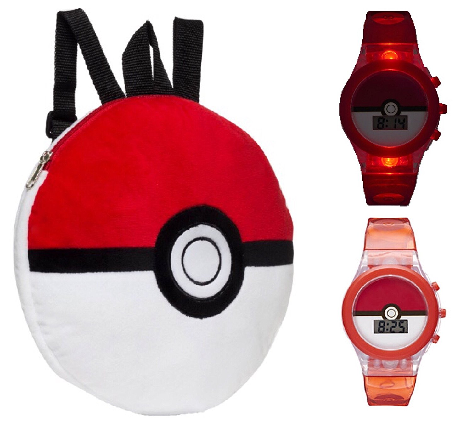 Get Quotations · Pokemon 16 inch Pokeball Backpack and Light Up Watch - Kids c9d6ec3b71061