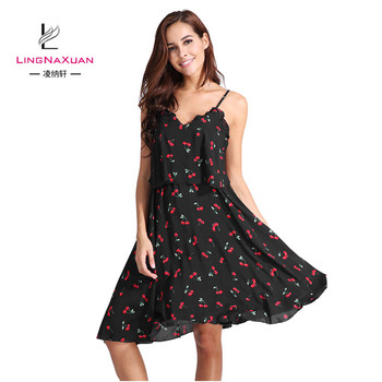 Korean Fashion Summer Long Aline Cherry Print Dress Plus Size Spaghetti  Strap Dresses - Buy Cherry Print Dress,Aline Dress,Plus Size Dress Skirts  ...