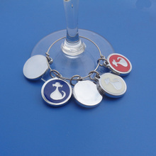 round casting alloy enamel wine glass charm