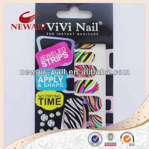 High Quality Neon Colorful Nail Art Decal Sticker 2D Patch Custom Nail Wrap