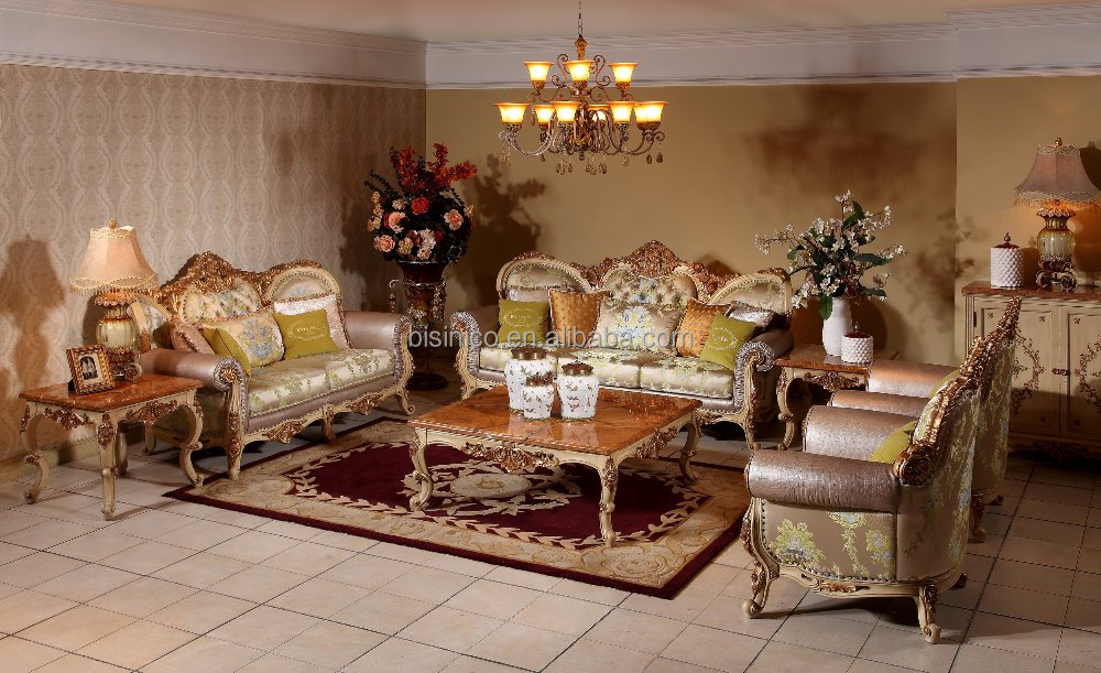 Luxurious Wooden European Classic Living Room Sofa For Villa And ...