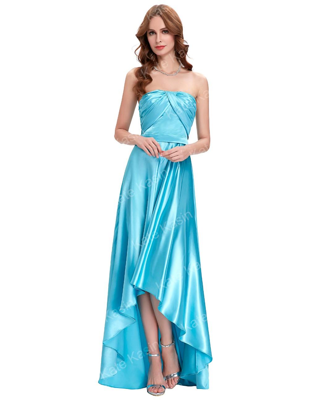 Kate Kasin Strapless Floor Length Silk-Like Sky Blue High Low Ball ...