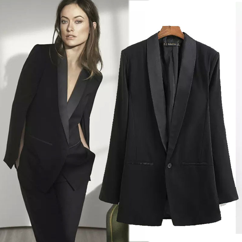 femmes 2015 new fashion blazer noir veste de costume veste femme bleiser feminino cape blazer. Black Bedroom Furniture Sets. Home Design Ideas