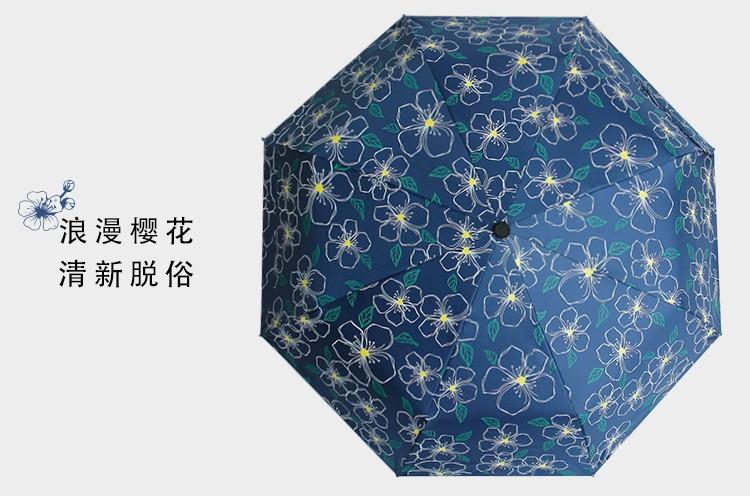 d9e97d4532c2 2017 New Korean style blue cherry tree brand black coating UV three folding  Sunny   Rain parasol umbrella rain women - us219