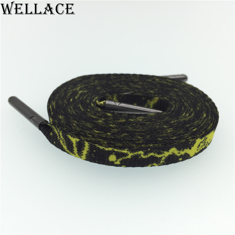 Wellace carbon weave Heat transfer Flat personalized replacement shoelaces Galaxy Plum blossom Polyester Shoe Laces Strings