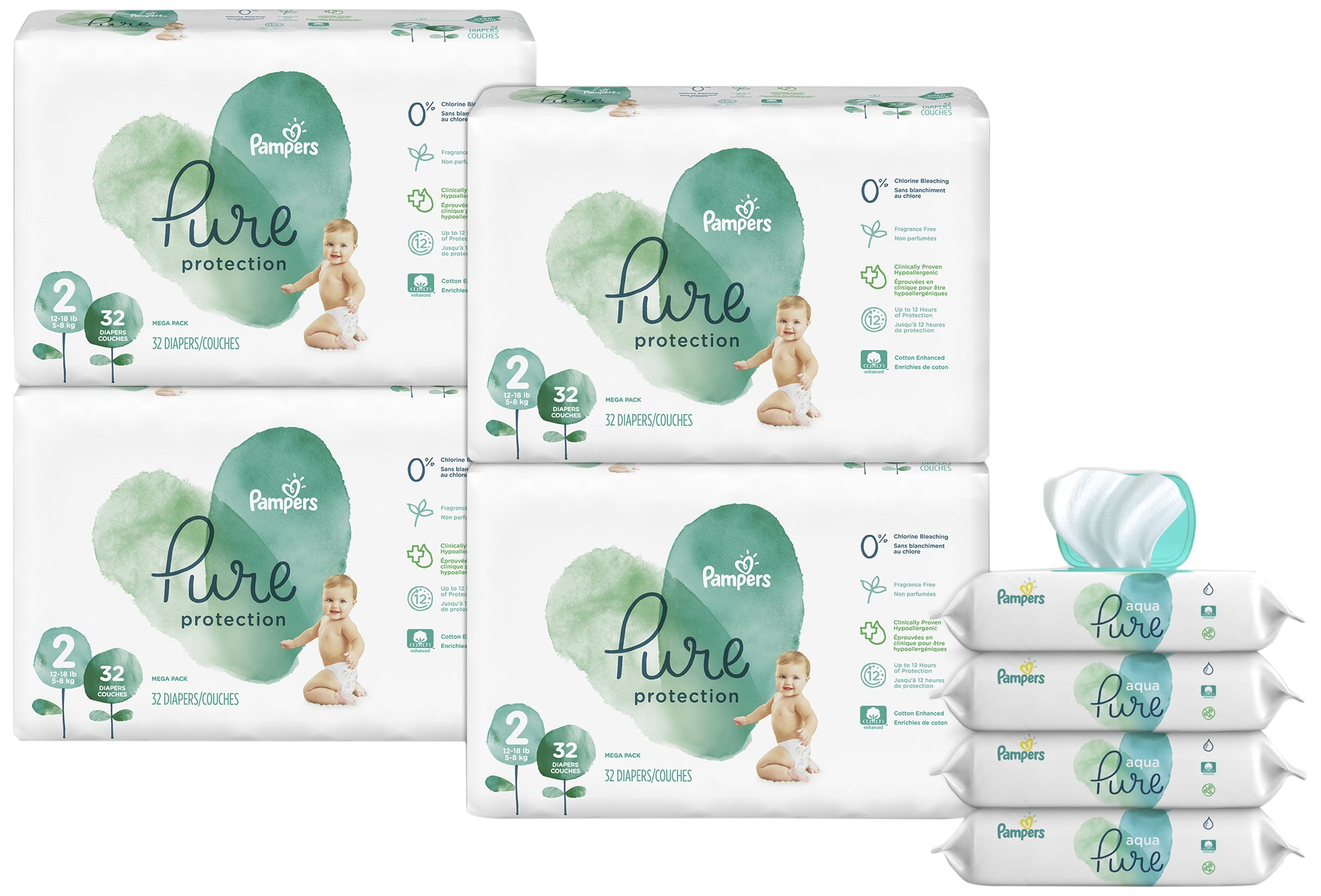 Pampers Pure Protection Disposable Diapers Size 2, 128 Ct. WITH Aqua Pure 4X Pop-Top Sensitive Water Baby Wipes, 224 Ct.
