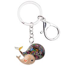 Брелок для ключей Bonsny, эмалированный сплав, Кит, кольцо для ключей с сумочкой, сумка, новый брелок для ключей, аксессуары, модные украшения дл...(Китай)