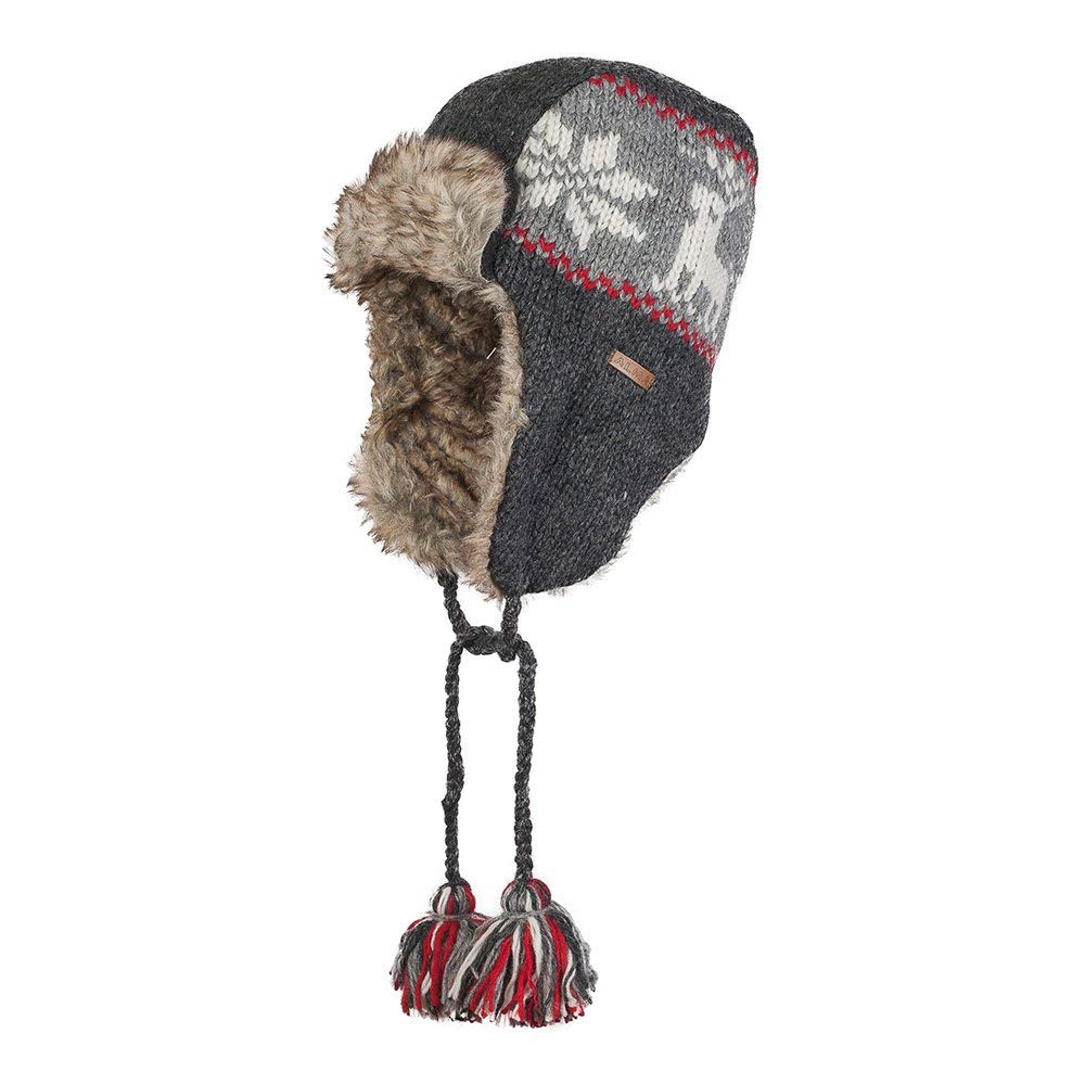 ce007df9e25 Get Quotations · 100% Wool Hand Knitted Trapper Bomber Winter Hat with Faux  Fur Lining