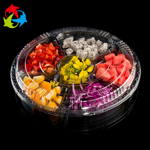 Compartment Clear Disposable Plastic Fruit Plates Tray with Lids