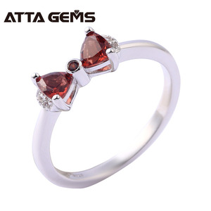 Natural Garnet Engagement Bow Knot Ring Jewelry 925 Silver Silber Schmuck In China Billig Bow Ring