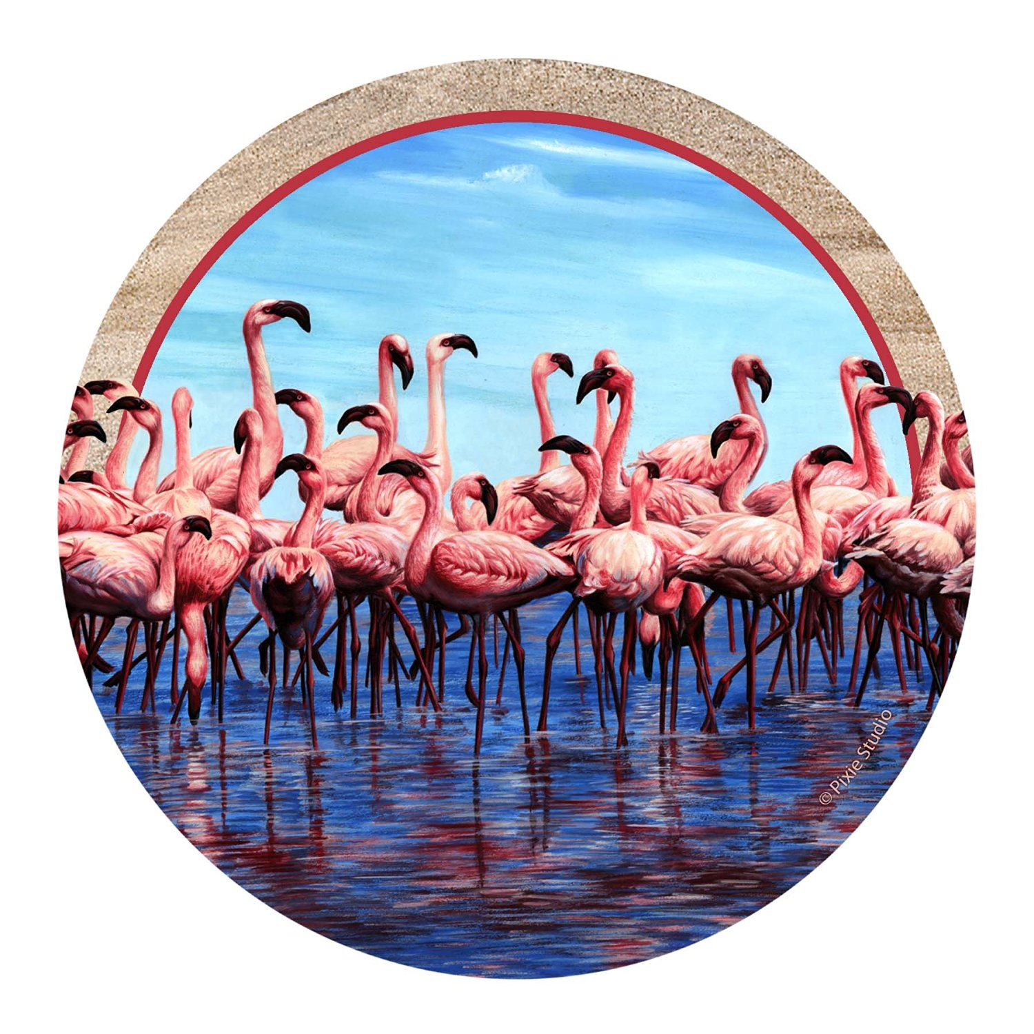 Thirstystone Drink Coaster Set, Flamingos
