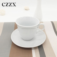 Stock white ceramic coffee bulk tea cups and saucers set for afternoon tea