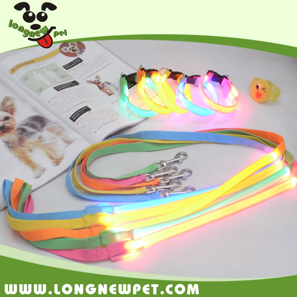 Discount Pet Supplies Cheap Nylon LED Flashing Dog Collar and Leash