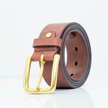 Handmade Italy Needle Buckle Belt Men's brown Leather Belt