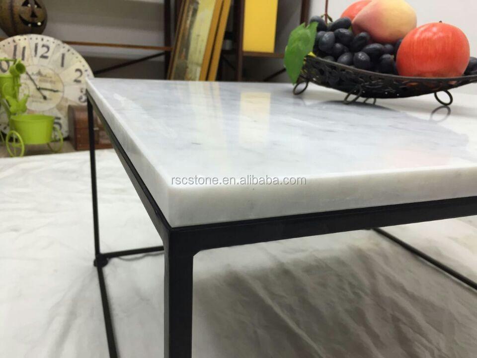 Goedkope Moderne Carrara Wit Marmeren Top Zwart Staal