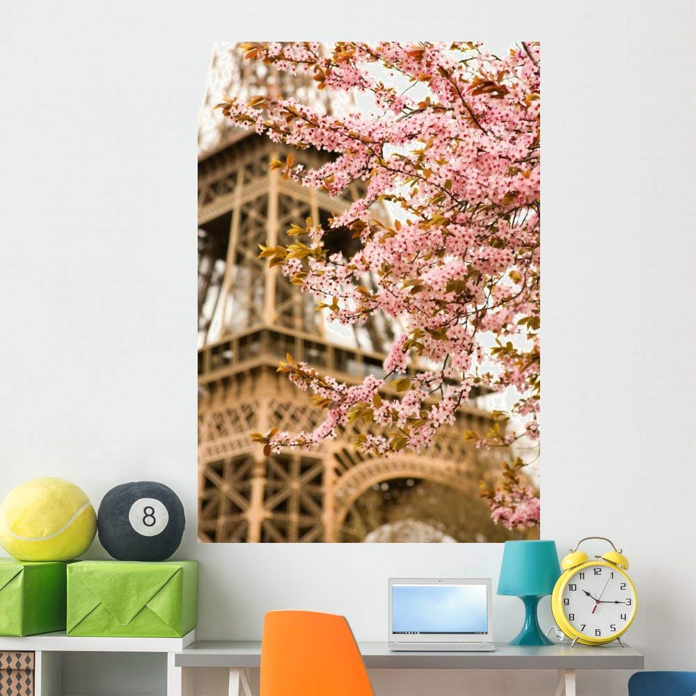Wallmonkeys Eiffel Tower Cherry Blossoms Wall Mural Peel and Stick Graphic (60 in H x 41 in W) WM358466