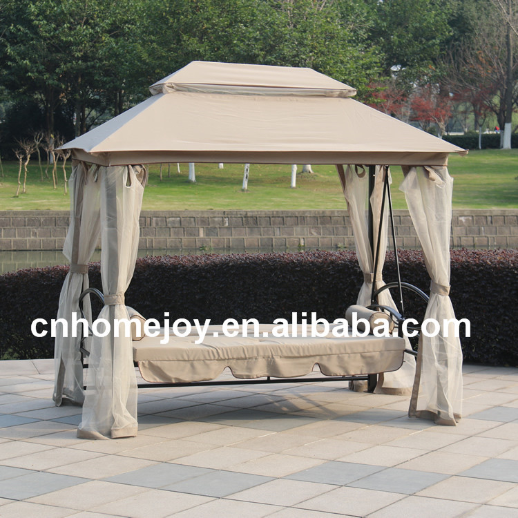 Luxury Outdoor Gazebo Swing Bed With Mosquito Net Patio Tent Swing
