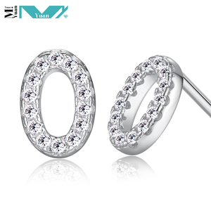 925 Sterling Silver Number - 0 - Cubic Zirconia Post Earrings