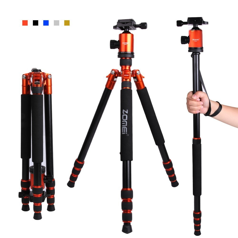 "Zomei Z818 65-inch Lightweight Camera Tripod Monopod, Aluminum Portable Detachable Monopod, 360 degree Ball Head, 1/4"" Quick Release Plate with Carrying Bag for Canon Nikon Sony Load (Orange)"
