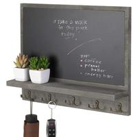 Home Decor Rustic Style Wood Wall Mounted Chalkboard Message Board with Key Hooks