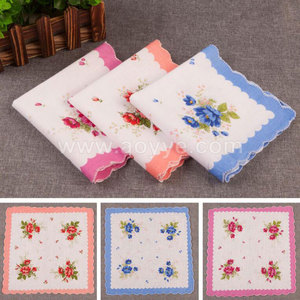Wholesale high quality best sale white pure cotton print lady fashion custom handkerchief