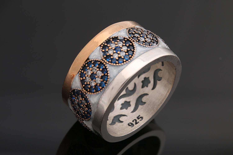 Turkish Handmade Jewelry Round Cut Evil Eye Sapphire Topaz 925 Sterling Silver Rhodium Ring All Size Options Special Design Nazar