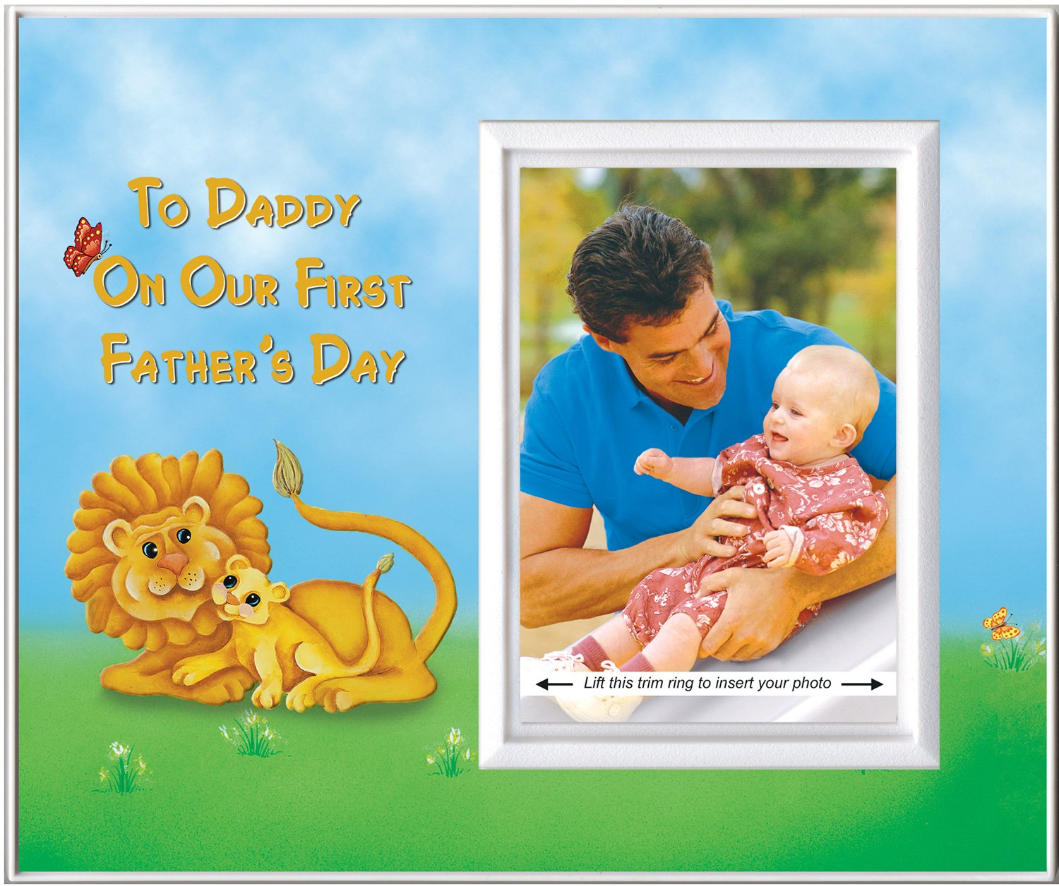 First Father's Day Picture Frame Gift   Affordable, Colorful and Fun   Holds 3.5 x 5 Photo   Boy or Girl Nursery Decor   Dad and Baby Lion Theme   Innovative Front-Loading Design