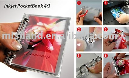 cast coated glossy photo paper with 3 binding rings,transparent cover,used by free software perfect DIY pocket book 4:3