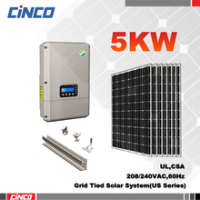 Solar grid tie kit systems,5kw renewable solar energy products for America Market
