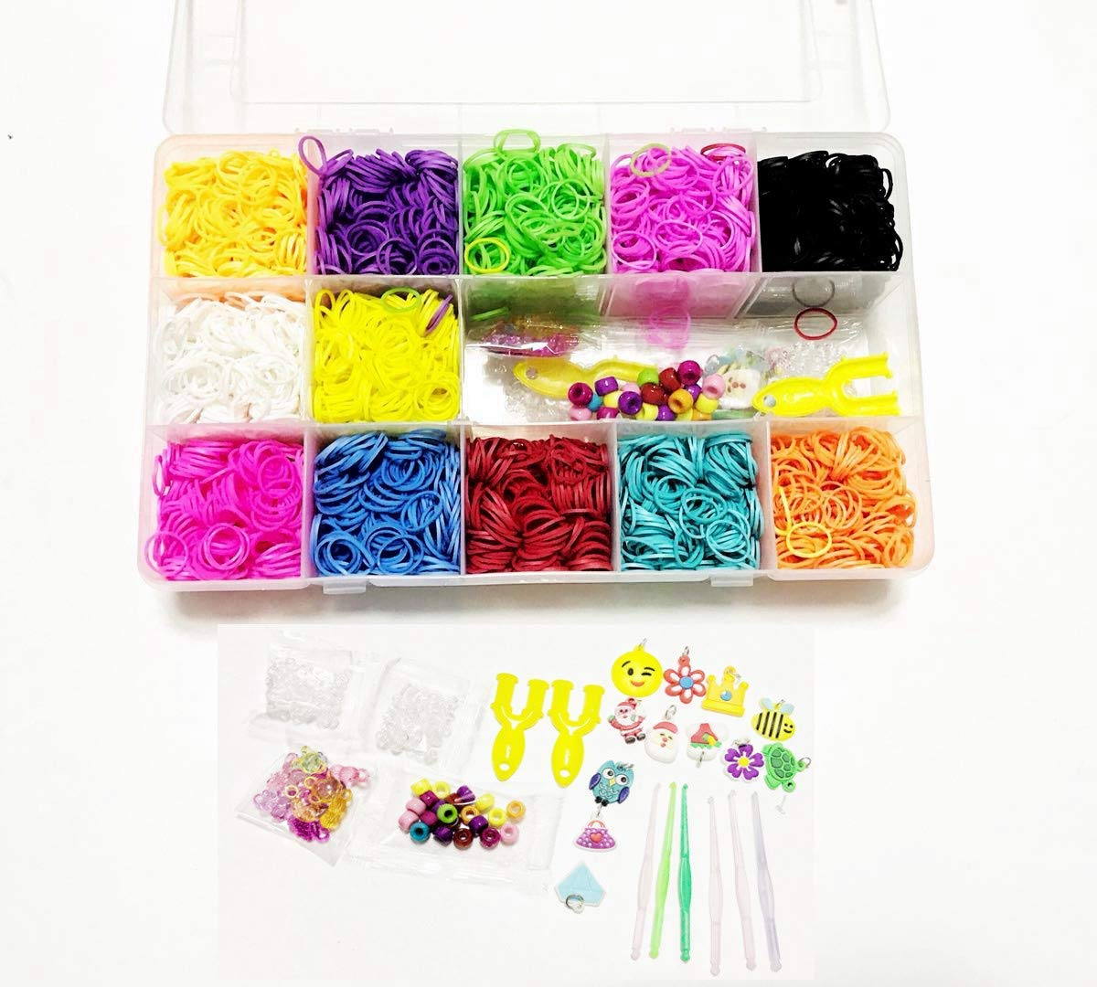 FRANNKY Rainbow Rubber Bands Mega Refill Loom Includes: 5,500 Premium Quality Rubber Bands Set with 6 Hooks,100 S-Clips,12 Silicone Charms,45 Beads (12 Rainbow Colors)