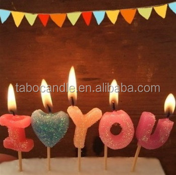 Multicolored Relighting Number Letter Shape Birthday Candle